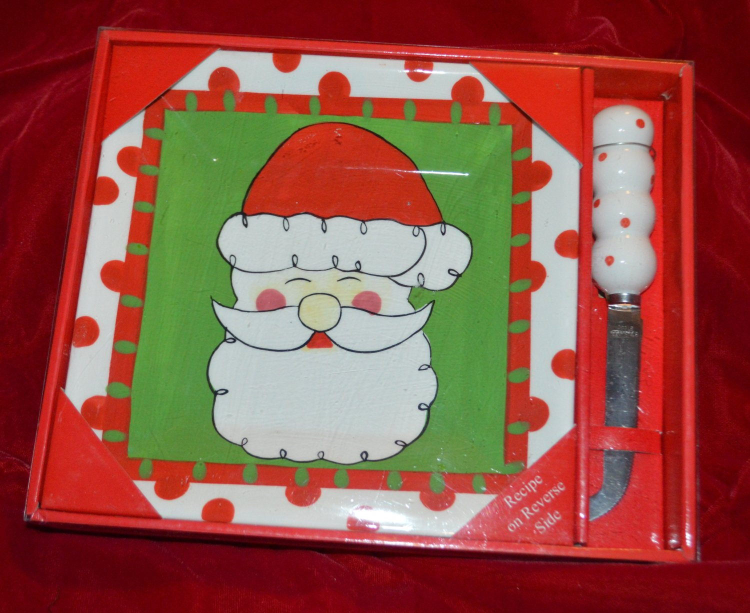 Santa Ceramic Platter with Cheese Stainless Steel Knife - Recipe