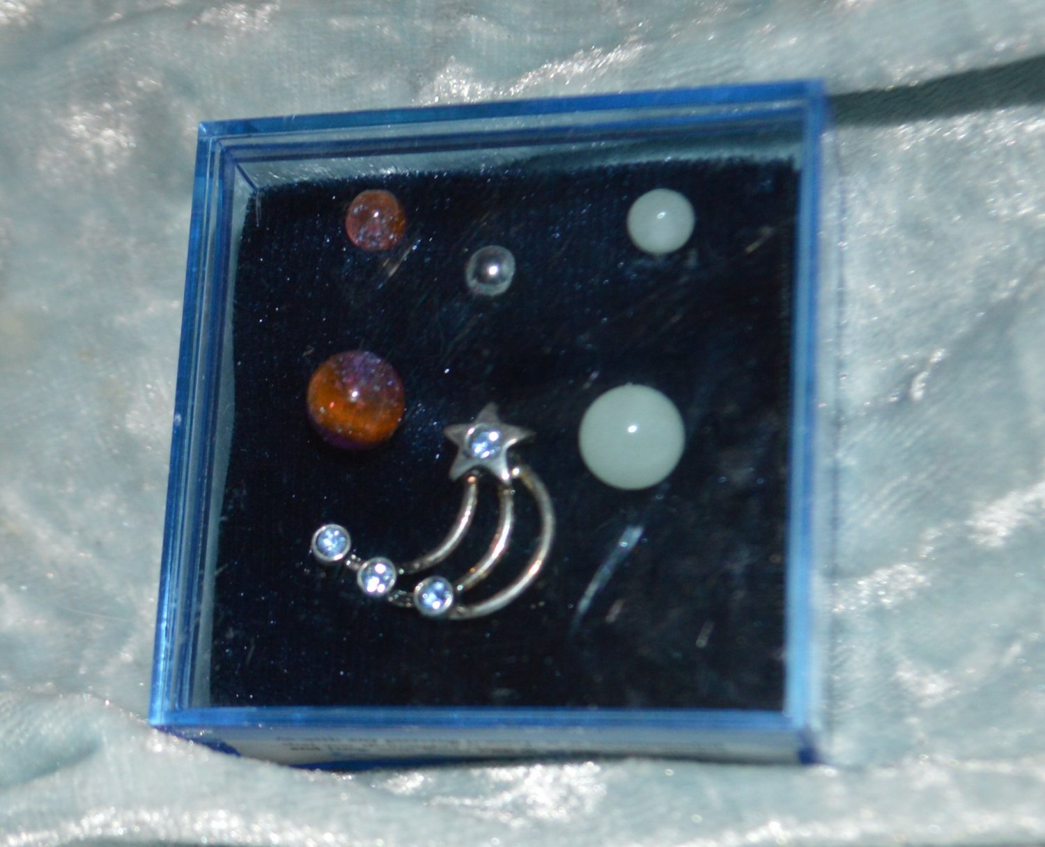 Blue Crystal Shooting Star - White & Orange Blue Acrylic Belly Ring