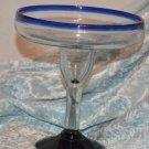 Cobalt Blue Trimmed Very Large Margarita Goblet Black Base Compote glas Stemware