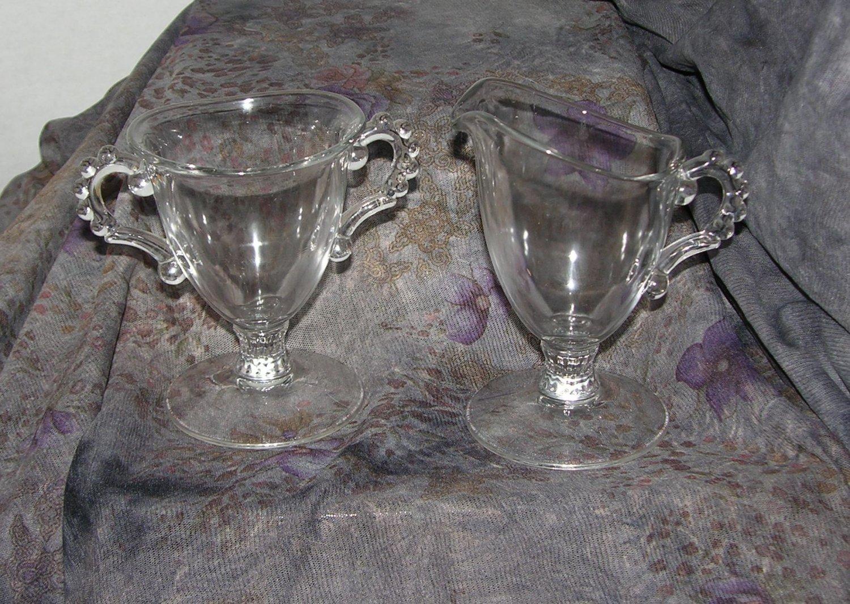 Anchor Heisey Berwick Boopie Ball Beaded Candlewick Cream & Sugar set set