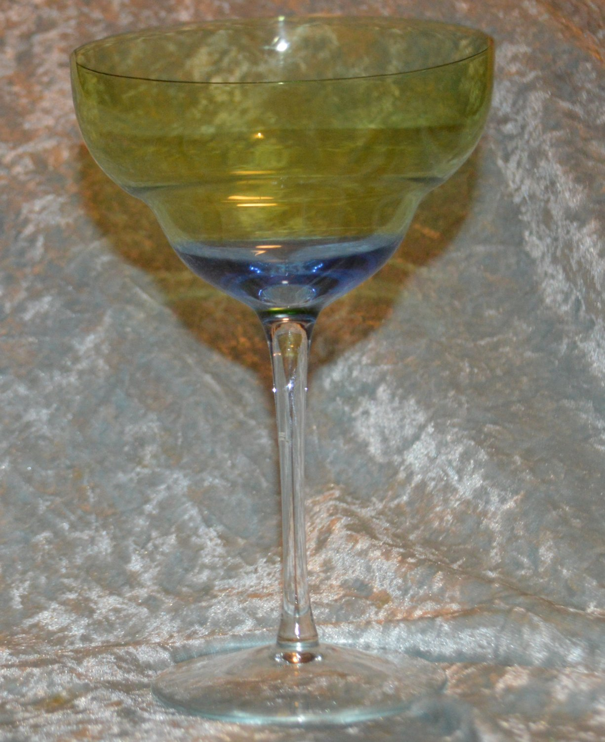 2 Blue Green Yellow Margarita Glass Moon Shadow