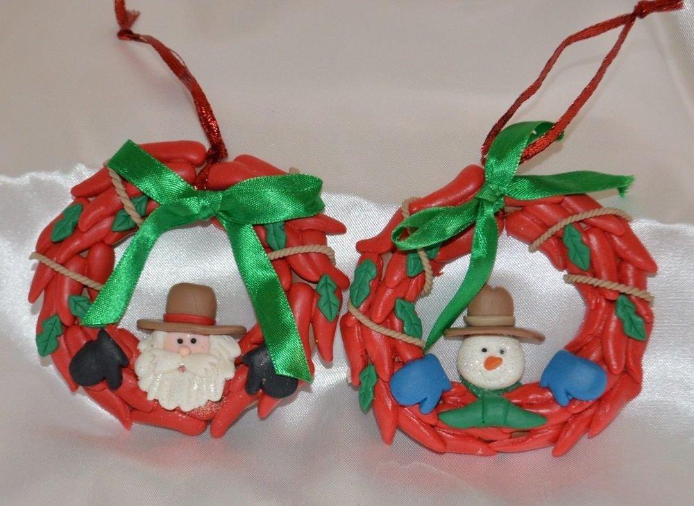 Handmade Clay Santa Claus and Snowman Red Wreath w/ Ribbon Christmas Ornaments