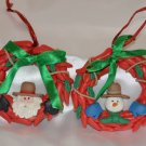 Handmade Clay Santa Claus and Snowman Red Wreath w/ Ribbon Christmas Ornaments