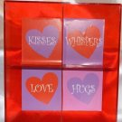 "Red Plastic Valentines Candy DIsh ""Kisses, Whispers, Love, Hugs"