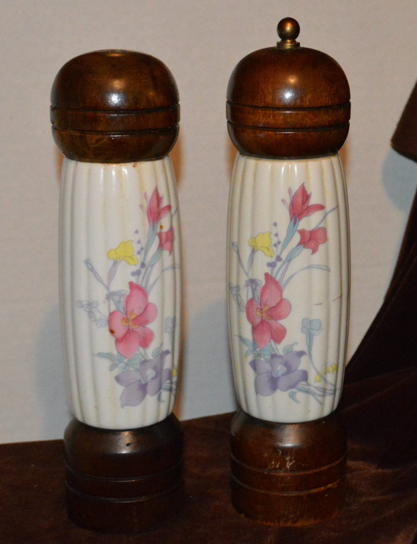 Tall Wooden Salt Shaker & Pepper Grinder Ceramic Inlay Flowers