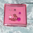Pink Shooting Star Crystal - Clear & Purple Acrylic Belly Ring Navel Pierce 14g