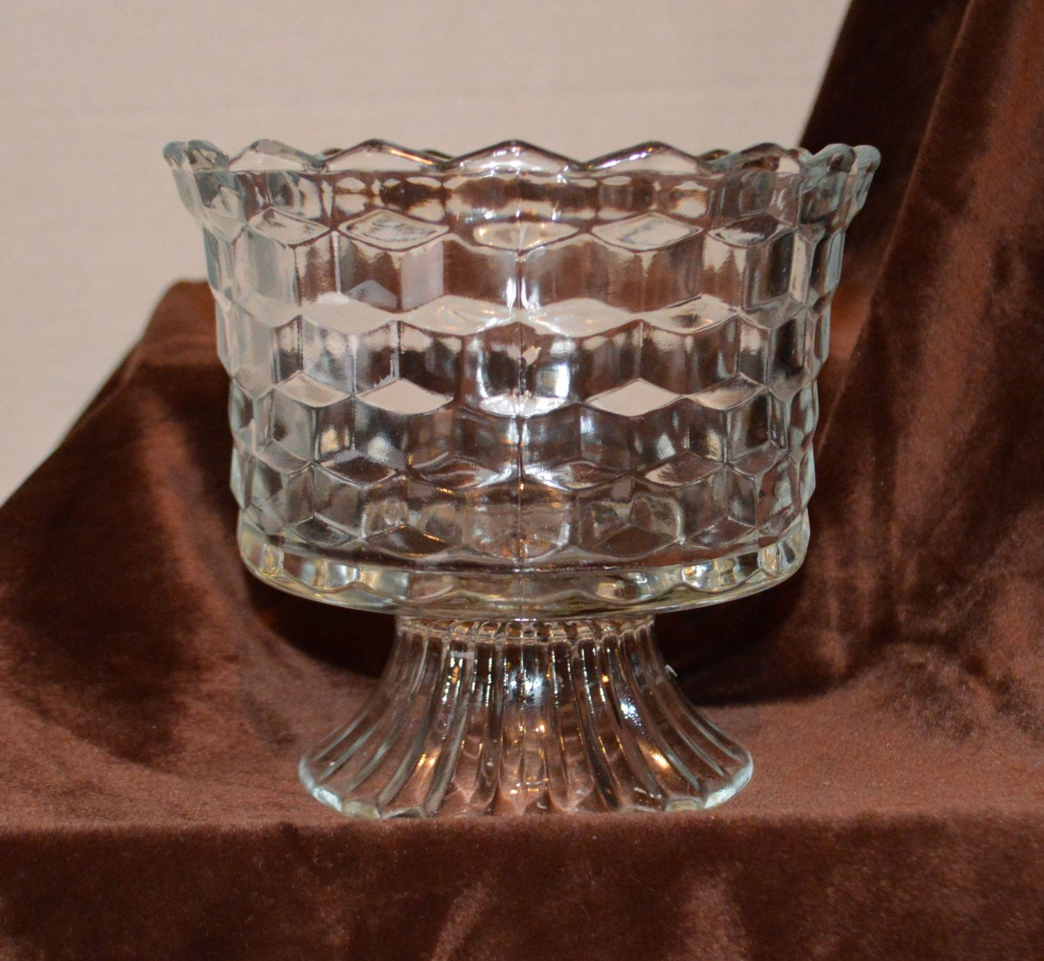 Interesting Cube Cut Crystal Cut Glass Pedestal Bowl Vase Compote