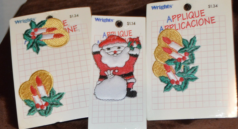 Wrights Classic Christmas Santa Candles Sew Iron on Appliqués