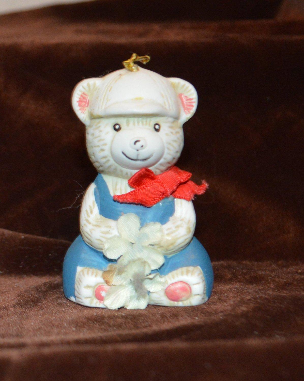 Bells 'n Bows Baseball cap Bear Christmas Ornament Ceramic Bell GiftCo Inc