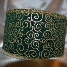 Florentine Noel Green velvet gold Scrolling Wire Edge Ribbon - 10yrds