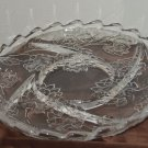 Beautiful Glass Platter Swirl of Dividers Flower Molded Clear Glass