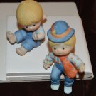 2 Ceramic Figurines Playful Boys in Blue Jean Overalls