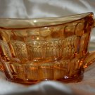Indiana Amber Glass Thumb Print Design Sugar, Butter or Condiment Bowl