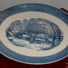Navy Blue Winter Farm Scene Print on Ceramic Dinner Platter