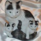Porcelain Ceramic Feline Cat with Kittens figurine Black & White