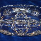 Star of David Crystal Glass Divided Serving Tray Relish Condiment