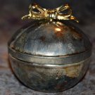 Quality Silver Plated ware Ball Shaped Jewelry box with Gold tone Bow