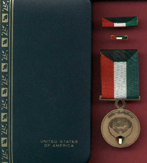 Kuwait Liberation medal in US case with ribbon bar and lapel pin