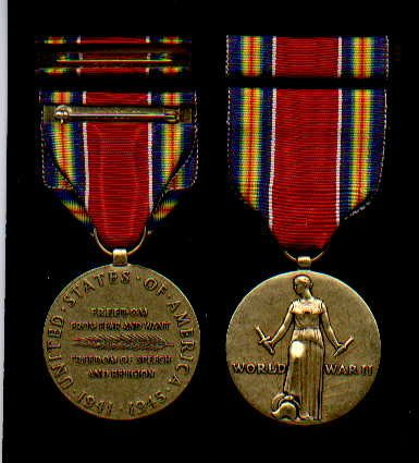 WWII Victory Military Award medal with ribbon bar