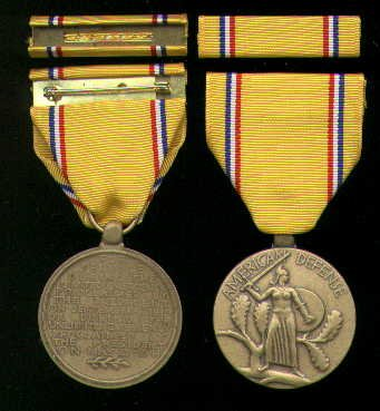 3. AMERICAN DEFENSE MEDAL WITH RIBBON BAR