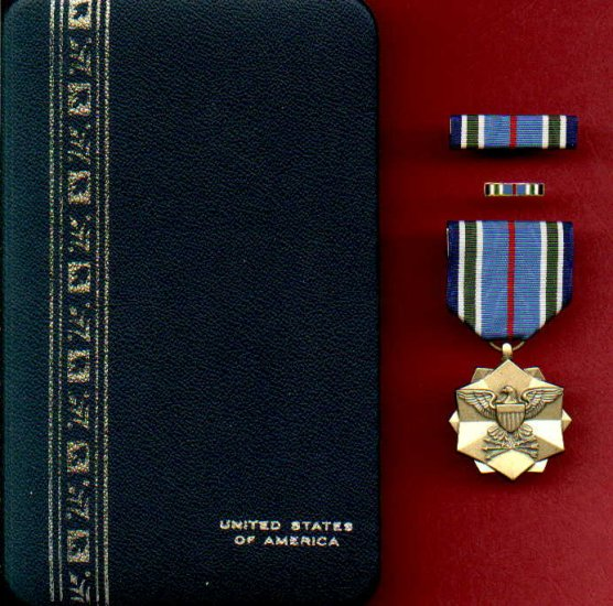Joint Service Achievement Military Award medal with ribbon bar and lapel pin in case