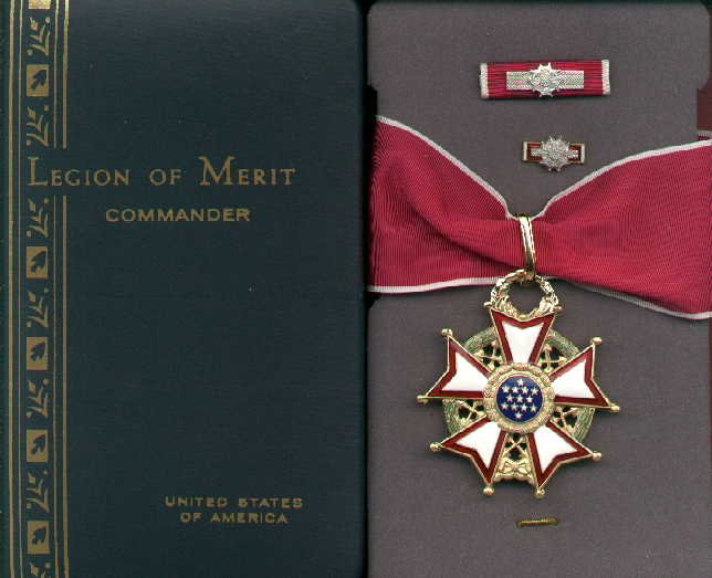 SALE PENDING-DO NOT ORDER-Legion of Merit Commanders medal in case with ribbon bar and lapel pin LOM