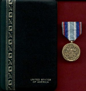 Air and Space Campaign medal in case with ribbon bar and lapel pin