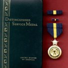 US Navy and Marine Distinguished Service medal in case with ribbon bar and lapel pin