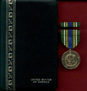 US Korea Defense Service Award medal in case with ribbon bar and lapel pin
