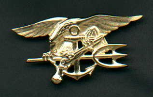US Navy SEAL Badge in gold officers rank  GENUINE