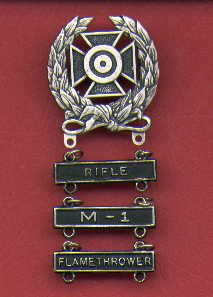 Expert Shooting badge with three qualification bars