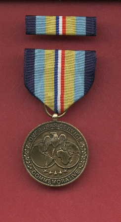 Overseas Service Commemorative medal with ribbon bar