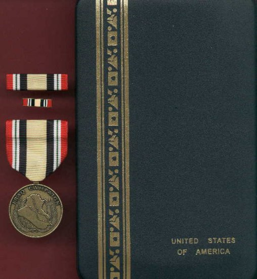 Iraq Campaign medal in case with ribbon bar and lapel pin