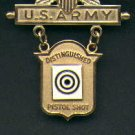 US Army Distinguished Pistol shot badge in gold