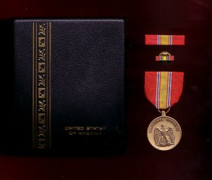 US National Defense medal decoration set with ribbon bar and lapel pin in case