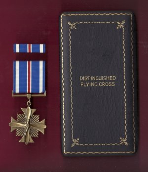 Distinguished Flying Cross in WWII case with ribbon bar DFC