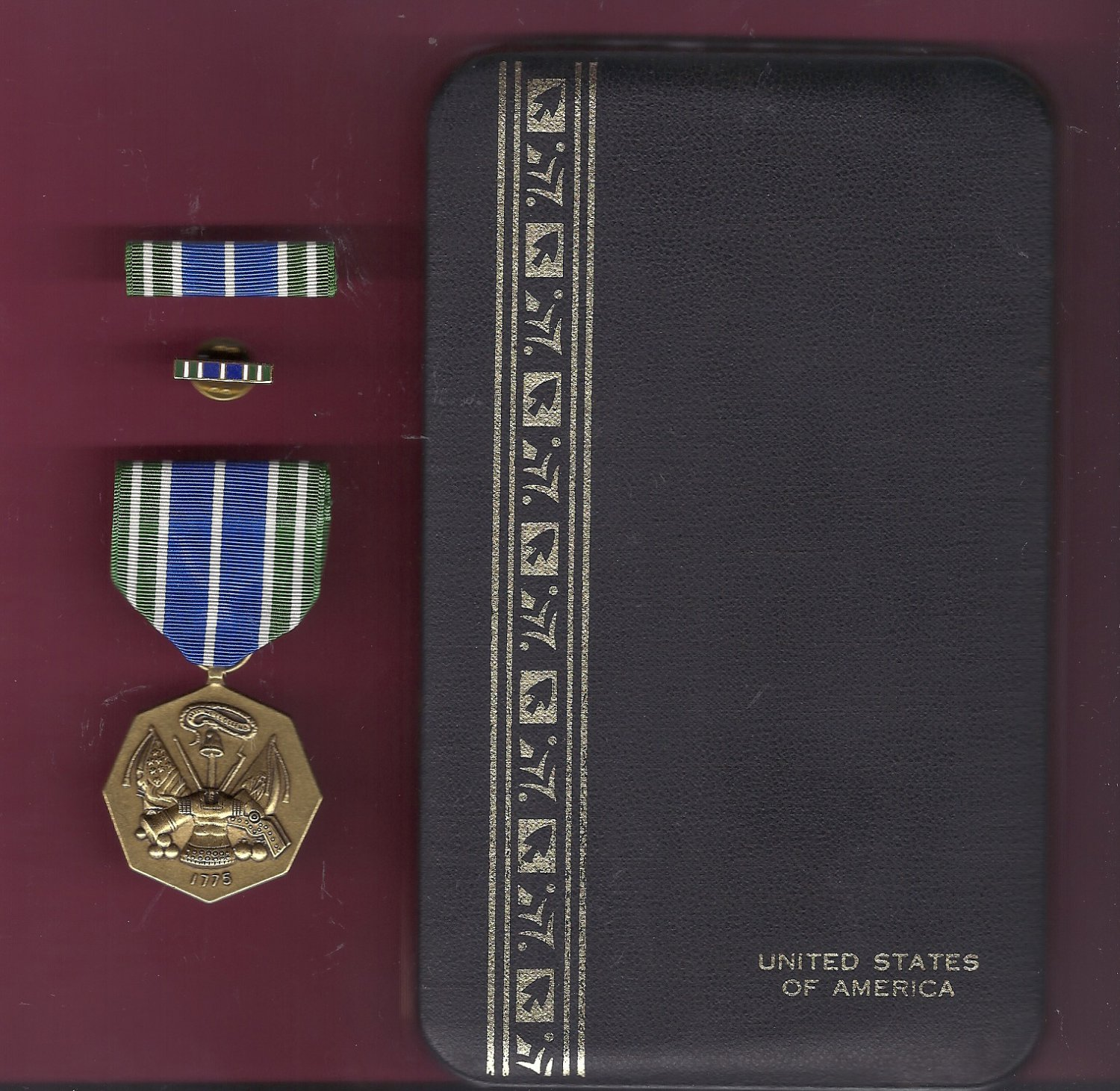 Army Achievement medal in case with ribbon bar and lapel pin
