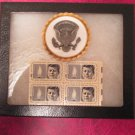 White House Service badge in case with President Kennedy Memorial Stamps