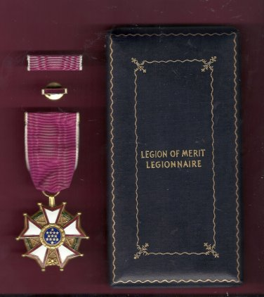Vintage Genuine WWII Legion of Merit Award medal in case with ribbon bar and lapel pin