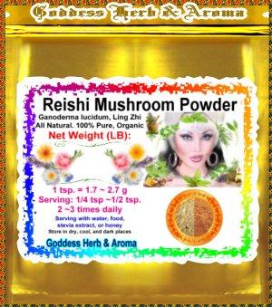 Reishi Mushroom Powder (Ganoderma lucidum, Ling Zhi) Organic Grown All Natural - 1 LB