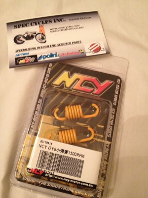 NCY Clutch Springs (1500 RPM); GY6 YELLOW