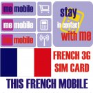 Pre Paid FRENCH 3G SIM CARD WITH 5€ free CREDIT FOR FRANCE , france sim card