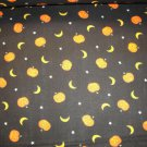 PUMPKINS, MOONS & STARS TOSSED ON BLACK B/G-YARDAGE-QUILTING-SEWING-CRAFTS