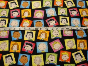 CHARLIE BROWN & GANG IN SQUARES-BLACK B/G-F/Q-SEWING-QUILTING-CRAFTS