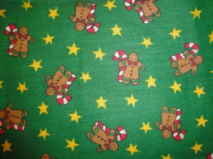 GINGERBREAD W/CANDYCANES&GOLD STARS TOSSED-GREEN-F/Q