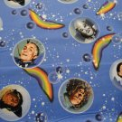 """WIZARD OF OZ""-CHARACTER FACES IN BUBBLES TOSSED ON BLUE B/G-F/Q-QUILTING"