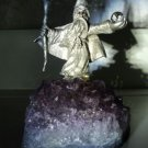 Pewter Figurine Wizard on Genuine Amethyst Base