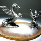 Pewter Wizard With Dragon On Genuine Agate Base