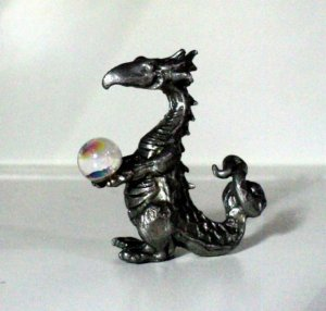 Pewter Dragon With Crystal Ball
