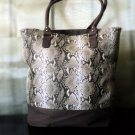 Snake Print Tote With Canvas Trim